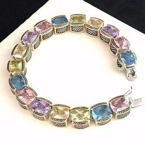 Jewelry - Bali Style Tennis Bracelet Silver Crystals 9I